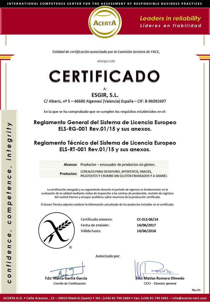Els certificado de conformidad esgir 2017 esgir cereales for Cocinar quinoa hinchada
