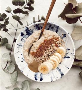 porridge de avena y plátano